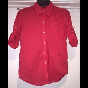 Lauren Ralph Lauren Button Up Rolled Sleeve Shirt